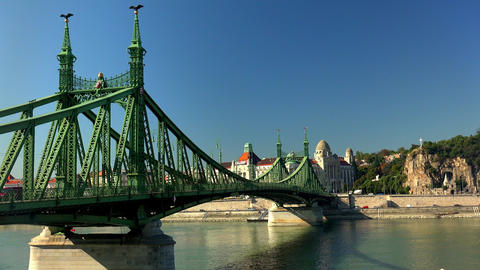 Bridge on the River Danube in Budapest. 4K Footage