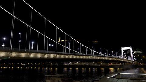 Bridge on the River Danube in Budapest. Night. 4K Footage