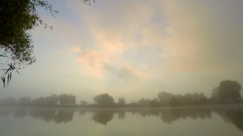 Sunrise In Fog On River Water stock footage