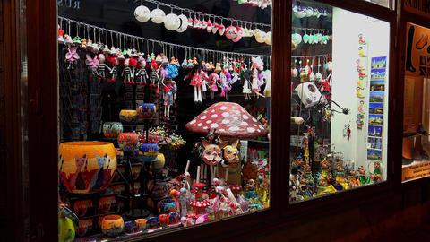 Souvenir shop, bazaar in Budapest. 4K Footage