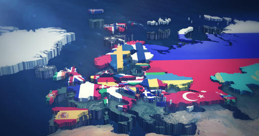 4K European Country Flags 3X10 Second Inserts stock footage