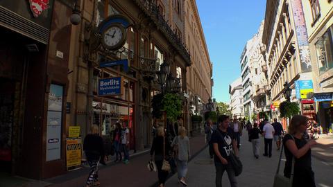 Vaci utca street in Budapest. 4K Footage