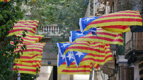 Secessionist Independence Catalonian Flagstaff in a Windy Day Footage