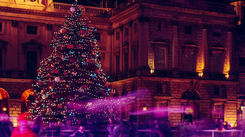 Ice Skaters and Christmas Tree Footage