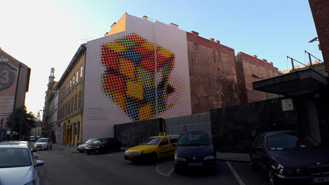 Rubik's Cube on the wall of a building in Budapest. 4K Footage