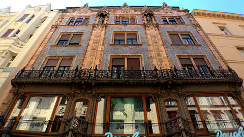 The old, beautiful house on Vaci Street in Budapest. 4K Footage