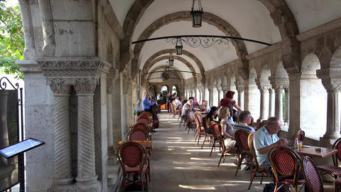 The Restaurant At Fisherman's Bastion In Budapest. 4K stock footage