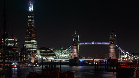 Timelapse Of Tower Bridge London Lift Opening 3 Times stock footage