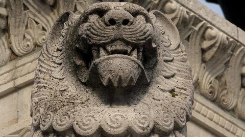 Muzzle stone lion. 4K Live Action
