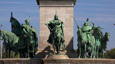 The monument, a sculpture at Heroes' Square in Budapest. 4K Live Action