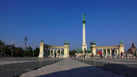 Heroes Square in Budapest. 4K Footage