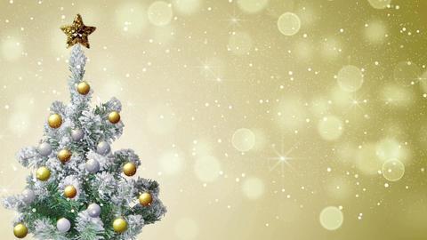 christmas tree and gold glitter snowfall loop 4k (4096x2304) Footage