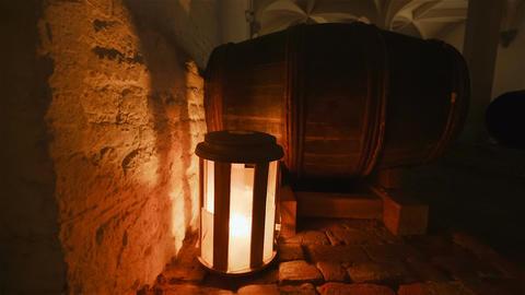 Barrel Detail in an Old Wine Cellar Footage