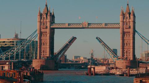 Daytime Close-up Shot of Tower Bridge London Lift Opening Footage