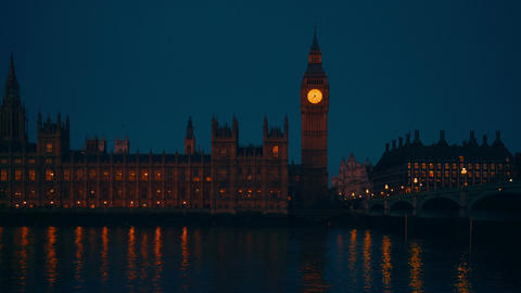 Big Ben, Westminster And Houses Of Parliament By Dawn stock footage