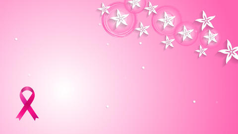 Flowers Pink Design And Breast Cancer Awareness Ribbon Video Animation stock footage