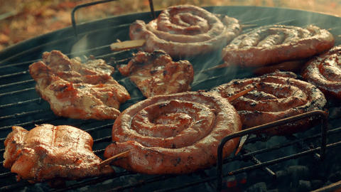 Close-up Barbecue (BBQ) Shot Showing Pork, Beef, Poultry and Chicken Meat Footage