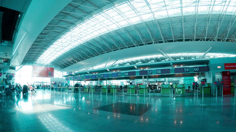 Check-in Hall of the Airport. Time Lapse 4K Footage