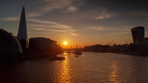 Sunset Timelapse View Of The River Thames In London stock footage