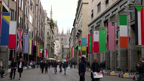 Corso Vittorio Emanuele Street Avenue Boulevard People City Milan Italy Footage