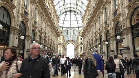 Galleria Vittorio Emanuele Shops Stores People Tourists Shopping Milan Italy Footage