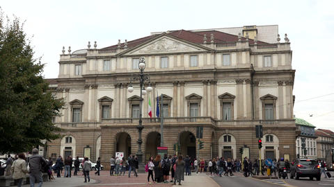 La Scala Opera House Theater Theatre Monument Landmark Milan Italy Footage