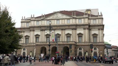 La Scala Opera House Theater Theatre Monument Landmark Milan Italy Footage