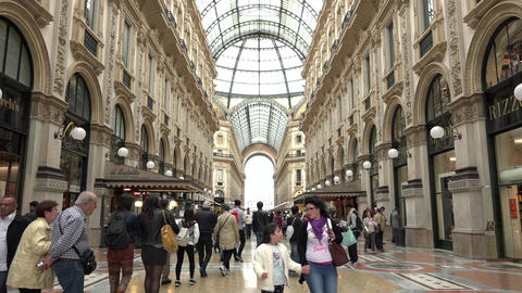 People Tourists Shopping Galleria Vittorio Emanuele Shops Stores Milano Italy Footage
