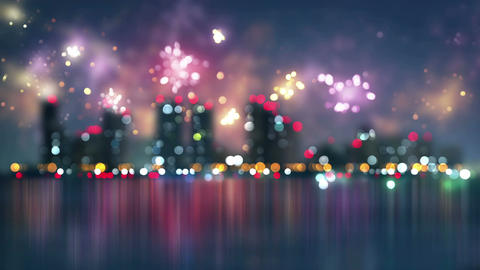 Blurred City And Fireworks Seamless Loop Animation 4k (4096x2304) stock footage
