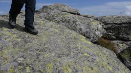 Woman Climb Boulders 94 stock footage