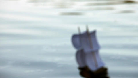 Blurred Silhouette Of A Sailboat stock footage
