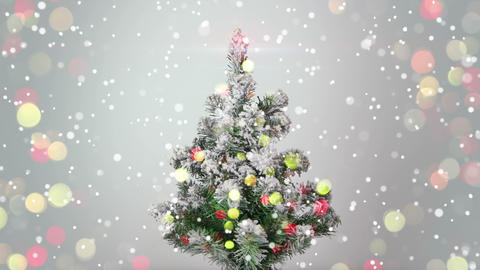 christmas tree and blurred flashing lights loopable 4k (4096x2304) Footage