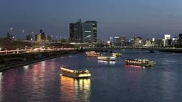 隅田川の夜桜屋形船と高速を走る車群 Footage