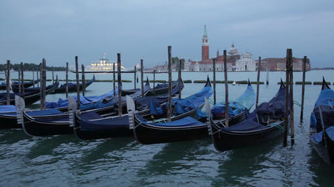 Gondolas shake on water the Grand Canal, Venice Footage