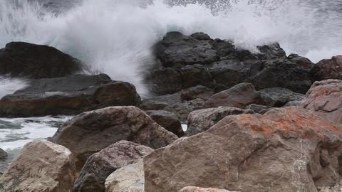 Sea Surf Ashore With Big Stones stock footage