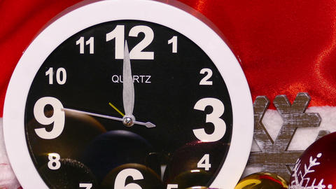 Clock and christmas toys in a red bag, zoom in Footage