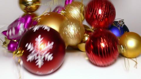 Christmas balls fall out of Santa Claus bag, slomo Footage