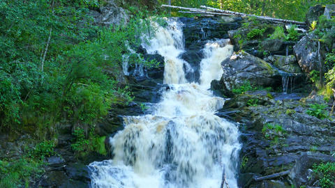 Yukankoski waterfall (white bridges) on the river Kulismayoki, Russia, Karelia,  Footage