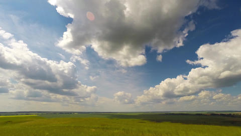 Summer Landscape With Cloudy Sky, View From Hill, Timelapse, 4k stock footage