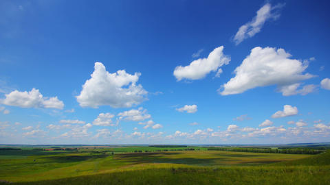 summer landscape with cloudy sky, view from hill, timelapse, 4k Footage