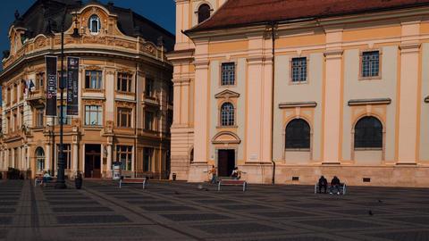 Romanian Town Of Sibiu - Large Square (Piata Mare) stock footage