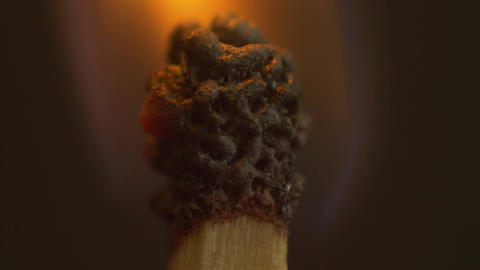 Extreme Macro Close Up Of Burning Match stock footage