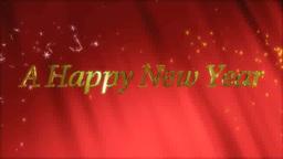 赤いカーテンと新年の金文字 Footage