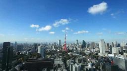 東京タワーとビル群と流れ動く雲 Footage