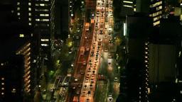 渋滞する首都高速3号の夜景 Footage