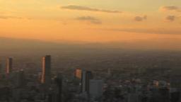 夕日と新宿の高層ビル群 Footage
