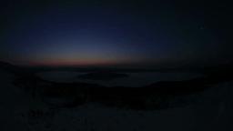 冬の屈斜路湖と斜里岳方向の山並みと昇る朝日 Footage