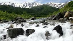 雪解け水の松川と北アルプス Footage
