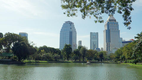 Skyscrapers Of Bangkok Downtown Near Park stock footage