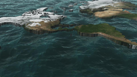 World Pan of 3D Map NO Clouds or Sun Animation